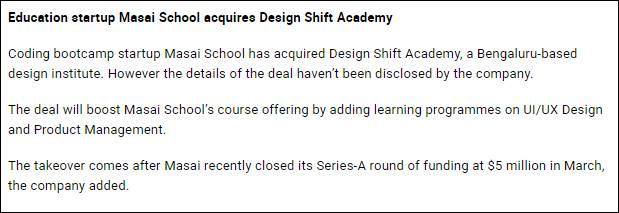 Masai school cnbctv18 News Design Shift