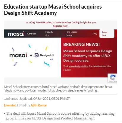 Masai school livemint News Design Shift
