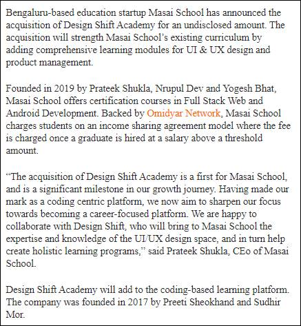 Masai school techcircle News Design Shift